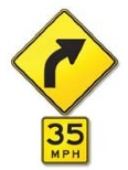 J5 Right Curve with Safe Speed Indicator